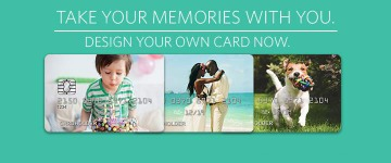 three customized credit cards with personal photo images. Take your memories with you. Design your own card now.
